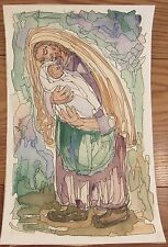 Signed Chaim Goldberg (1917-2004) watercolor painting Mother & Child 13x20