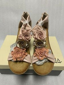 Patrizia by Spring Step Harlequin Wedge Sandals. Peach Multi, Size 37 US 61/2-7