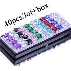 Wholesale 40pcs Colorful Silver Stud Earrings Women's Gift+Box