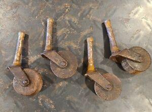 Vintage Set Antique Wooden Wheels Casters For Furniture  Dresser Chest