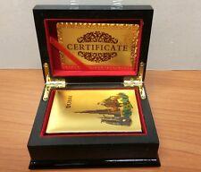 24K Karat Dubai Burj Gold Plated Poker Playing CardWood Box CertificateUk
