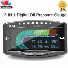 5in1 LCD Digital Oil Pressure Voltmeter Water Temperature Fuel Gauge 12V/24V
