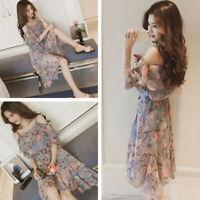 Fashion Off-shoulder Korean Women Dress Summer Casual Beachwear Floral Dress LI