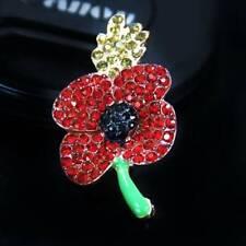 Women Poppy Badges Pin Branch Lapel Crystal Brooch Metal Enamel❀❀