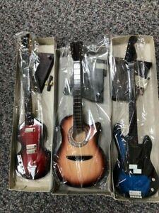 "3 x BOXED 10"" Handmade Miniature Replica Guitars Fender Talon Acoustic - NEW"