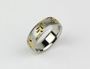 Vintage Famor Men's Two-Tone 14k White and Yellow Gold Leaf Pattern Band Ring