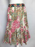 Nicole Miller Skirt Size 12 Multi Color Box Pleat Sheer Floral Print Knee Length