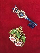 Trifari 925 Sterling Key Brooch + Trifari REPAIR Calla Lilly Clip - No Reserve
