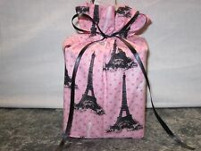 Black Eiffel Tower on pink cotton Fabric square Tissue Box Cover Handmade