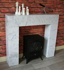 White Marble Effect Modern Chunky Box Fire Surround