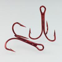 100pcs High carbon Steel Fishing Hook Red Sharpened Treble Hooks 3/0-4# Nickel