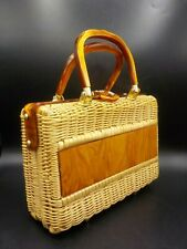 Vintage 60's Tropical Miami Coated Wicker & Caramel Swirl Lucite Handbag Purse