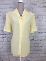 Just Elegance Women's Blouse Yellow Short Sleeve Button Top Size UK 16 US 12