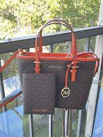 Michael Kors Leather XS Shoulder Tote Handbag Bag Satchel Bag+Passport Wallet