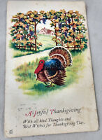 A Joyful Thanksgiving Postcard With all kind Thoughts and Best Turkey 1923 VTG