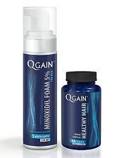 Qgain MINOXIDIL SCHIUMA PER UOMINI 5% 3 mesi di fornitura BOTTIGLIA 180ml + perdita di capelli Tablet