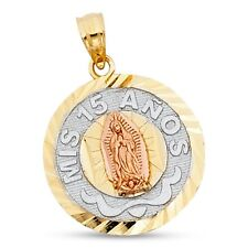 Virgin Mary Mis 15 Anos Pendant 14k Yellow White Rose Gold Quinceanera Charm