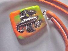 Collier Pendentif Scorpion * métal argenté cordon ciré Rouille et Fimo polymère