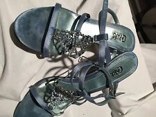 Womens Carlos Blue Satin Dress Heels jewel accent T-strap across instep Size 6.5