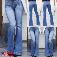 Women Jeans Skinny Denim Pants High Waist Stretch Trousers Flare Bell Bottoms US