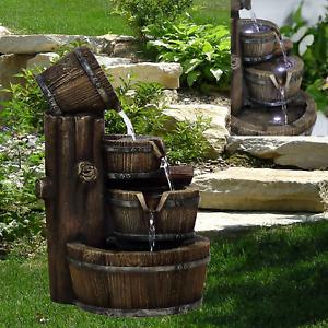Large Garden Fountain Water Feature Pump LED Lights Cascade Barrel Statue Decor