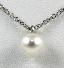 Culture Natural Japanese Pearl Drop Pendant 14k white gold with 7mm