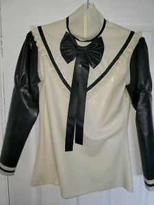 NEW Latex Rubber Shirt Blouse Jacket Coat Top Role-play Cosplay Shiny UK seller