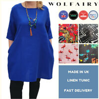 Wolfairy Womens Plus Size Linen Summer Tunic Top Loose Lagenlook Short Sleeve