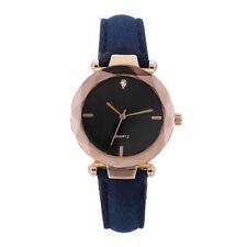 Women`s Luxury Fashion Rose Gold Black Dial Quartz Blue Leather Band Wrist Watch