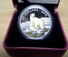 2014 Canada Engraved and Painted Polar Bear Silver Coin