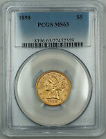 1898 Liberty $5 Gold Half Eagle, PCGS MS-63, Choice BU Coin