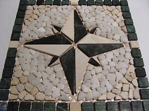 Naturstein Marmor Mosaik Fliese Rosone Einleger 30 x 30 cm weiß schwarz grün 8-3