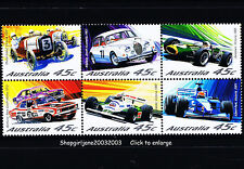 2002 - Motor Racing Australia set - block of 6 - MNH