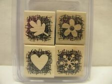 Stampin' Up Set 4 MADE FROM SCRATCH Rubber Stamps Leaf Heart Snowflake Flower