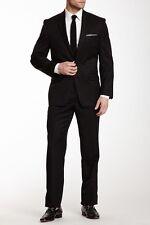 Calvin Klein Mens Black Solid Two Button Notch Lapel Suit Jacket Size 38 S