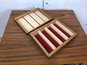 Vintage Brown Wooden Slide Box Storage with Index Card