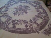 Vintage Fiatelle cotton print tablecloth Lavender on White Grapes Leaves Heavy