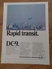 1968 Mcdonnell Douglas Ad  DC-9    Rapid Transit