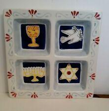 1980'S Large Ceramic Divided Serving Platter Jewish Hanukkah Chanukah Design