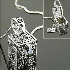 Retro Vintage Silver Necklace Box Charms Pendant  Women Jewelry Christmas GifCXV