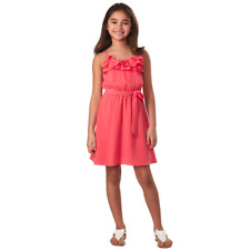 Girls Cold Shoulder Denim Look Dress Flower Lace Trim Age 4-14 Summer Teen Kids