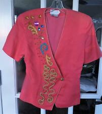 Vtg Anne French Jewelled Appliqued 100% Ramie Short Sleeve Jacket Top Hong Kong