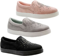 Ladies Womens Flat Slip On Plimsolls Diamante Pumps Trainers Sneakers Shoes Size