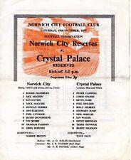 Norwich City V Crystal Palace reservas programa 15.10.1977