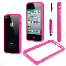 Housse Coque Etui Bumper Rose Apple iPhone 4S 4 + Mini Stylet