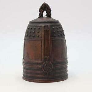 Japanese Antique old copper bell Hansho Temple Buddhist BOS393