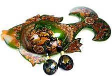 Russian Vintage Khokhloma Hand Panted Lacquer Wood Punch Set Large Fish Collect