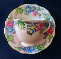 FOLEY CHINA -CUP AND SAUCER - PINK BLUE FLOWERS ! VIBRANT FLORAL EUC!