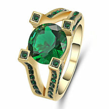 Jewelry Band Rings Size 6 Green Emerald CZ Women's Yellow Gold Filled Gift