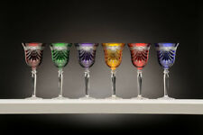Set of 6 Hand Made 24%Lead Crystal Wine Glasses in Multicolor w/Drape Cut